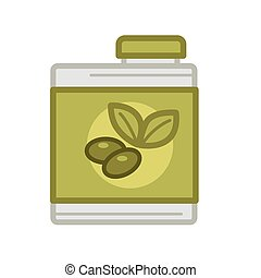 Tin with olive oil - Vector illustration of can with pickled...