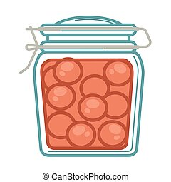 Jar with pickled tomatoes - Vector illustration of pickled...