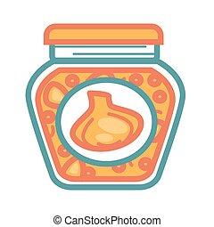 Jar with pickled garlic - Vector illustration of pickled...