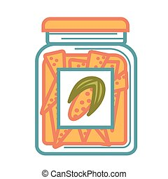 Jar with delicious canned corn isolated cartoon illustration...