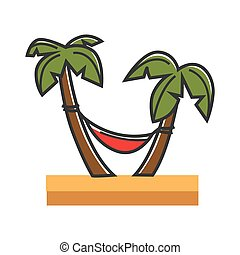Red hammock tied to palms on sandy beach isolated cartoon...