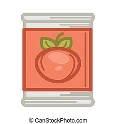 Can with preserved tomatoes - Vector illustration of tin...