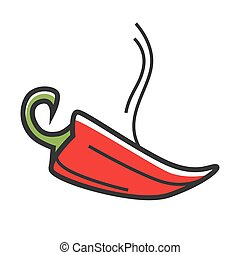 Red hot chili peper with steam isolated illustration - Red...