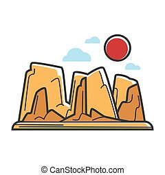Dry sandy rocks under hot sun isolated illustration - Dry...