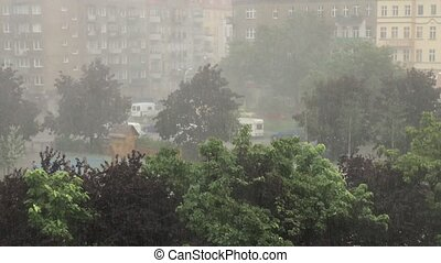 Scary urban storm. Very strong summer storm with close to...