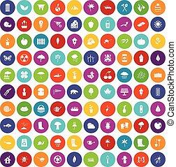 100 garden stuff icons set color - 100 garden stuff icons...