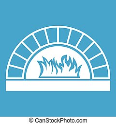 Pizza oven with fire icon white