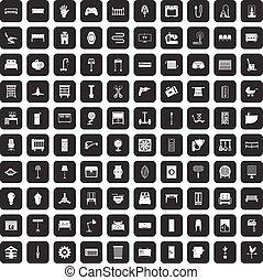 100 furnishing icons set black