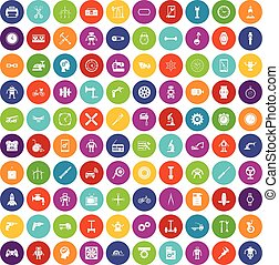 100 gear icons set color