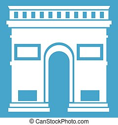 Triumphal arch icon white isolated on blue background vector...