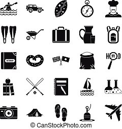 Water trip icons set, simple style