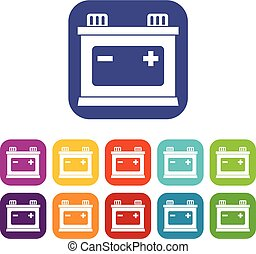 Car battery icons set vector illustration in flat style in...