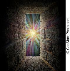 místico, pedra, Janela, ou, portal, pastel,...