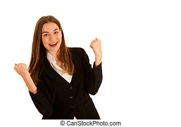 attractive young business woman gesture success isolated...