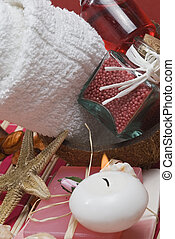 Red spa 12 - Spa background with red hygiene items and some...