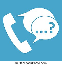 Phone sign and support speech bubbles icon white - Phone...