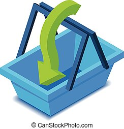 Shopping basket with arrow icon, isometric style