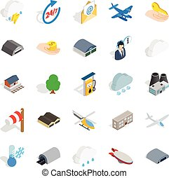 Airliner flight icons set, isometric style