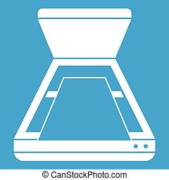 Open scanner icon white isolated on blue background vector...