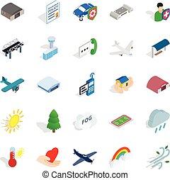 Airborne icons set, isometric style - Airborne icons set....