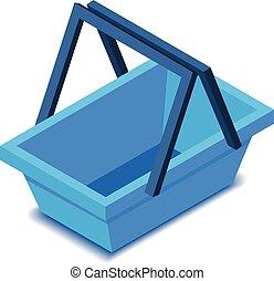 Blue shopping basket icon, isometric style