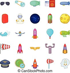 Favourable wind icons set, cartoon style - Favourable wind...
