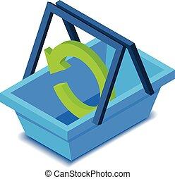 Shopping basket icon, isometric style