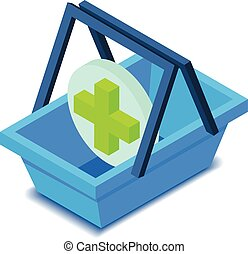 Shopping basket with cross icon, isometric style