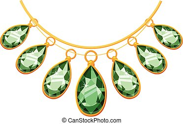 Necklace with green pendants icon, cartoon style