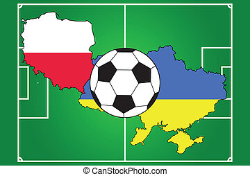 soccer ball with flags and field