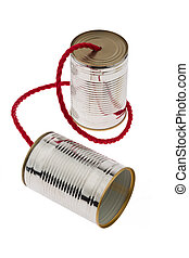 Tin can as a symbol Photo Communication - Two tin cans with...