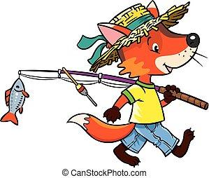 Little funny fox go fishing. - Funny little baby fox in...