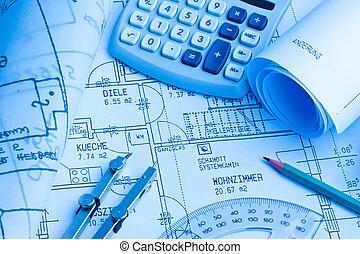 plan, maison, construction