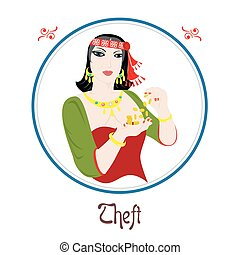 the theft sin - Illustration with a woman on the theme of...