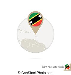 Saint Kitts and Nevis map and flag in circle. Map of Saint Kitts and Nevis, Saint Kitts and Nevis flag pin. Map of Saint Kitts and Nevis in the style of the globe.