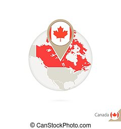 Canada map and flag in circle. Map of Canada, Canada flag pin. Map of Canada in the style of the globe.
