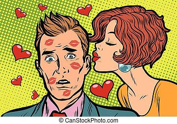 Beautiful woman kissing a man, trace of lipstick. Pop art...