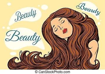 beauty woman with long hair. Pop art retro vector...