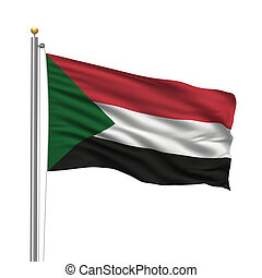 Flag of Sudan with flag pole waving in the wind over white...