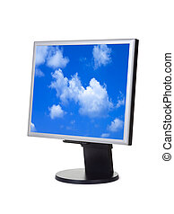 Sky on computer screen isolated on white background