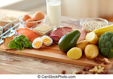natural rich in protein food on table - healthy eating and...