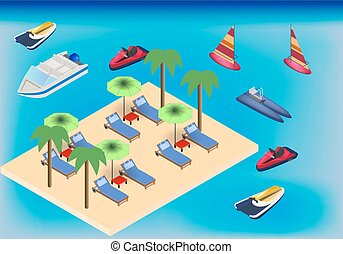 Isometric beach and sea with armchairs, umbrella and water transport