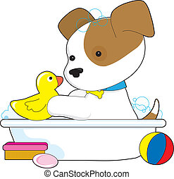 Cute Puppy Bath - A cute puppy is having a bath with a...