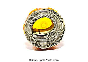Money in a Prescription Bottle - A roll of currency inside a...