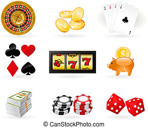 Gambling Icon set - Playing cards, Roulette Wheel and...