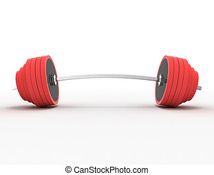 barbell on a white background . 3d rendered illustration