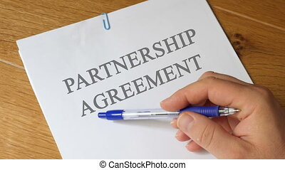 Partnership Agreement Concept - Partnership Agreement papers...
