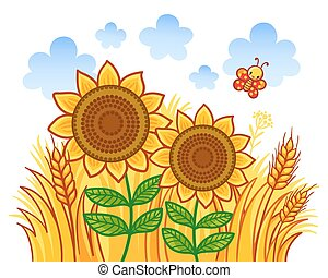 Couple of sunflowers on a background of wheat.