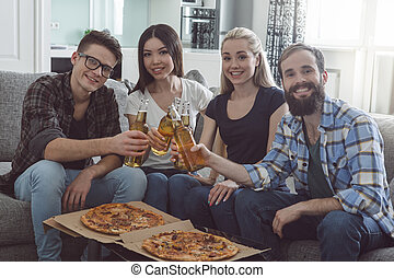 Group of friends having party together at home - Friends...