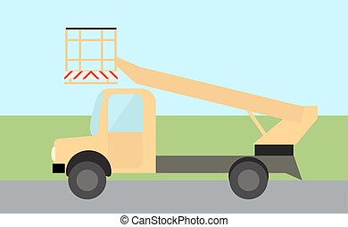 Bucket truck, truck for lifting people flat image in vector.